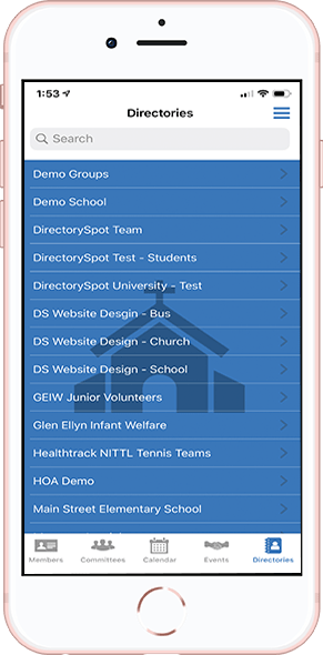 DirectorySpot Church directories on smartphone