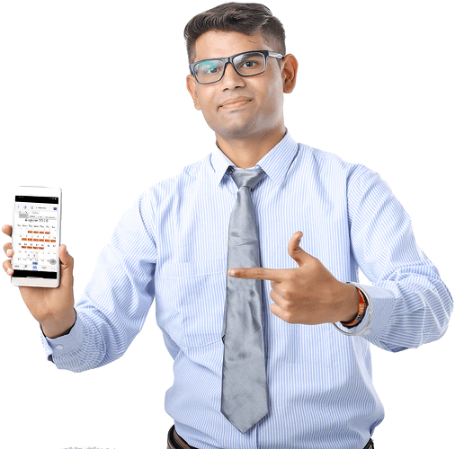 Businessperson holding up smartphone with DirectorySpot app