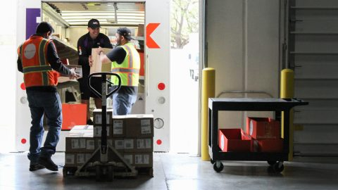 Shipments of naloxone, which reverses opioid overdoses, left Direct Relief's warehouse on March 21, 2019, bound for Corporacion SANOS in Caguas, Puerto Rico. The community health center not only provides primary care, but also mental health and addiction treatment services and is working to combat opioid overdose on the island. Also pictured are shipments of naloxone to the Camuy Health Services, Centro de Servicios Primarios and NeoMed Center. Alcohol swabs, syringes and other supplies were also included in the shipments. (Lara Cooper/Direct Relief)
