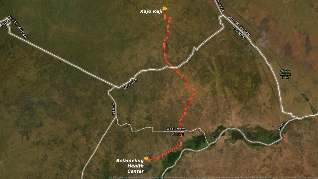 Map of route from Kajo Keji, where Dr. Dumba's patients lived, to the Belameling refugee camp.