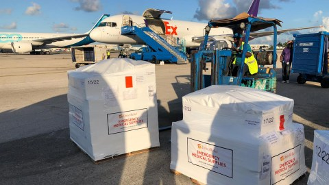 Emergency medical supplies are unloaded in Nassau for distribution to hospitals, clinics and pop-up treatment locations where staff are providing care in the Bahamas, post-Dorian. (Dan Hovey/Direct Relief)