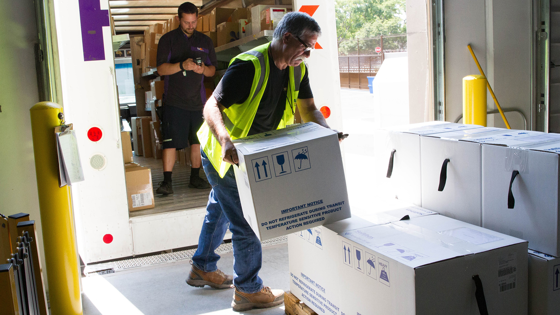 Insulin provided by Eli Lilly is shipped from Direct Relief's warehouse on August 1, 2018. The insulin was bound for the Santa Barbara County Public Health Department, which receives medicines and supplies from Direct Relief on a regular basis. (Lara Cooper/Direct Relief)