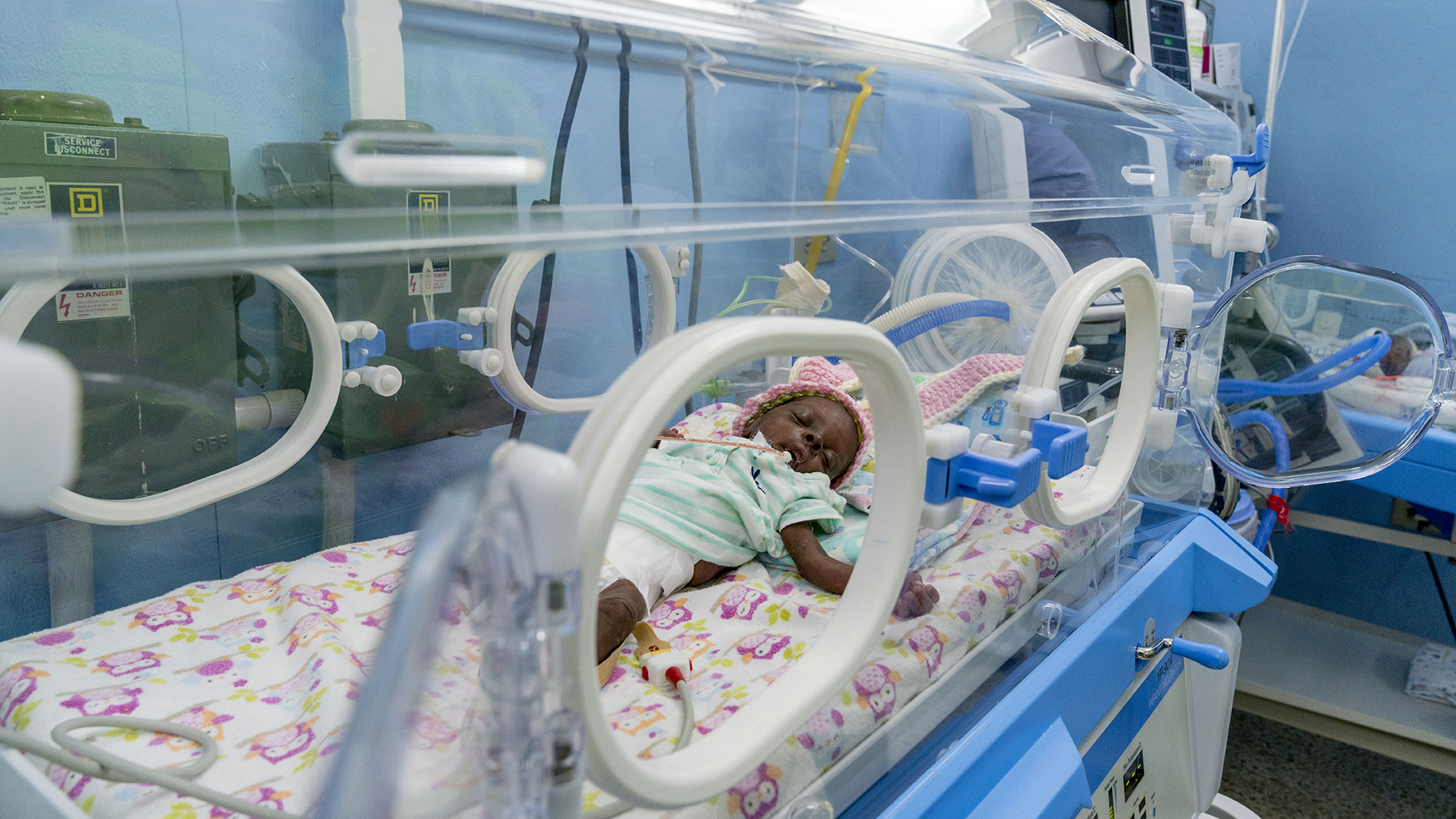 Infants often have respiratory distress when they are born early, and Direct Relief has been supporting hospitals in Jamaica with a critical medication that helps babies breathe. Here, an infant rests at a hospital supported by the Issa Trust Foundation in Jamaica. (Photo by C. Panetta)