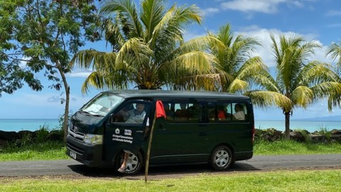 The van Dr. Vija Sehgal's team used to go from village to village, offering the measles vaccine to Samoans. (Photo courtesy of Dr. Vija Sehgal)
