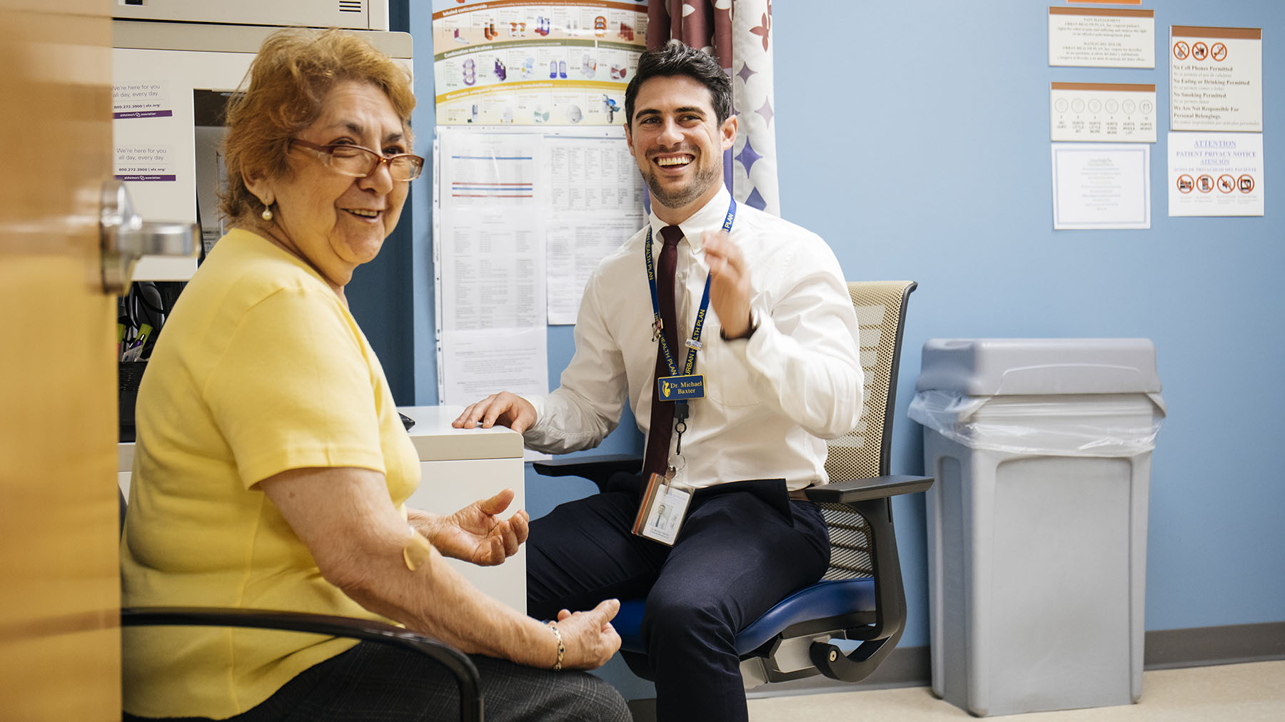 Center for Heathy Aging Patient Maria, and Clinical Pharmacist Michael V. Baxter meet for a consultation at Urban Health Plan, Inc. in Bronx, New York.