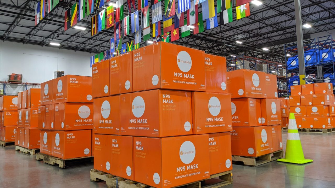 Particulate masks staged in Direct Relief's California warehouse. (Tony Morain/Direct Relief)