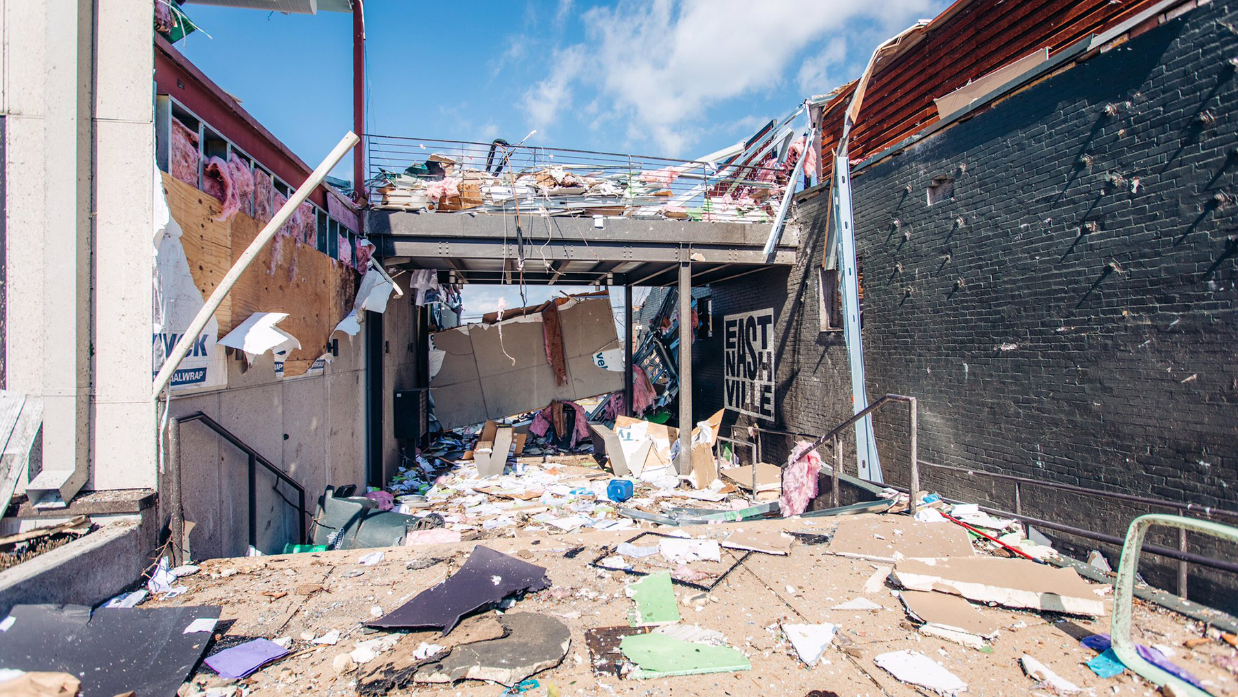 Damage from this week's tornado as seen in East Nashville. (City of Nashville photo)