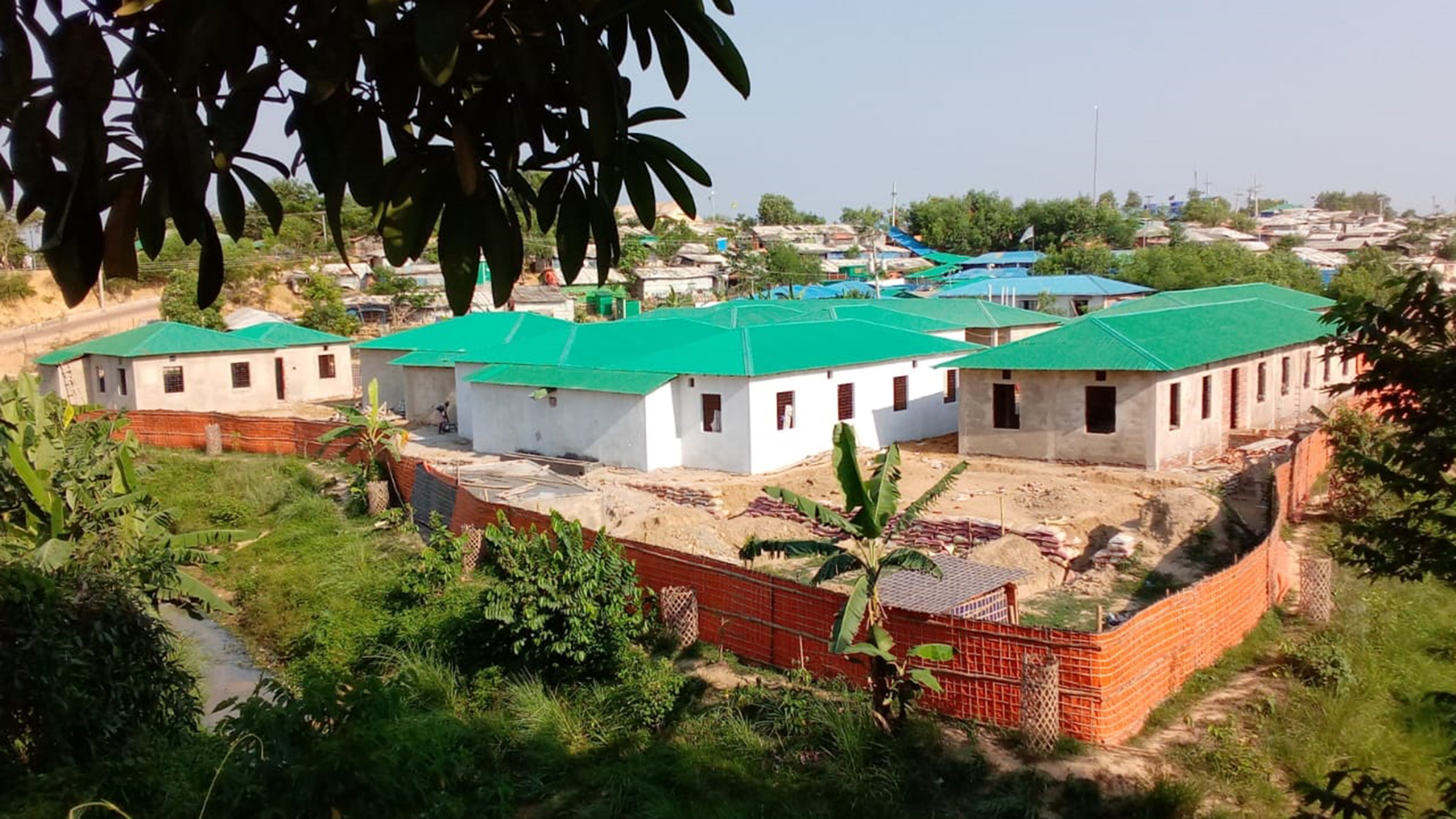 The field hospital's new Covid-19 isolation unit, under construction. (Photo courtesy of Dr. Iftikher Mahmood)
