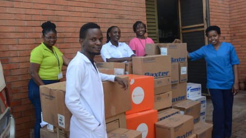 The shipment arrives at Mulago National Referral Hospital. (Photo courtesy of Texas Children's Hospital)