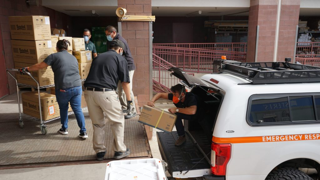 Direct Relief staff deliver requested medical aid to health facilities in the Navajo Nation as part of the Covid-19 response in May, 2020. (Brent Baldwin/Direct Relief)