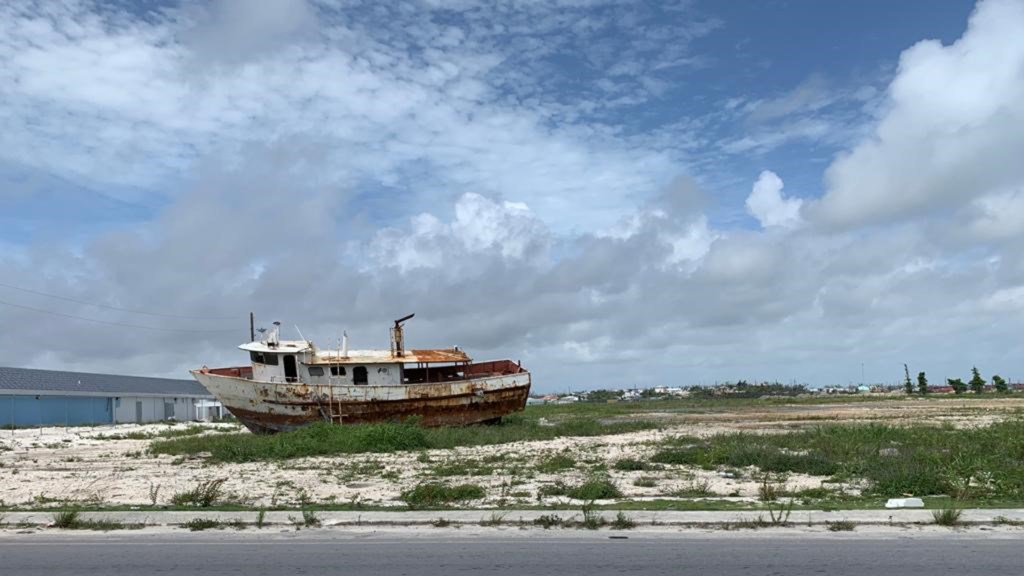 A damaged boat in Marsh Harbor, on the island of Great Abaco. (Photo courtesy of Dr. Jim Hull)