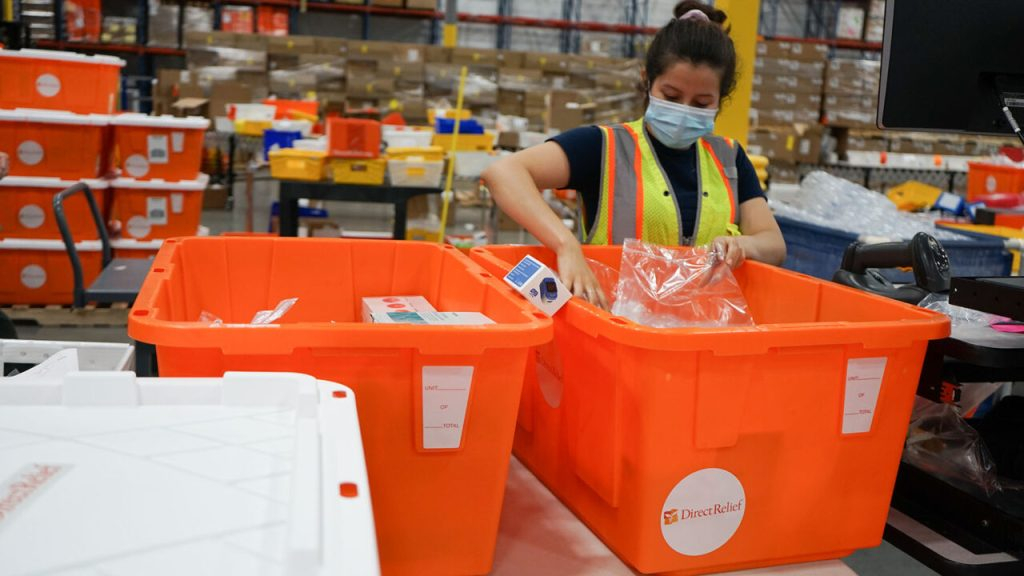 Essential medicines are packed before shipment to hurricane prone-communities in the United States, which are facing a high activity storm season, on top of the ongoing Covid-19 pandemic. Health centers and free clinics across the U.S. are working to continue services even as challenges remain. (Lara Cooper/Direct Relief)