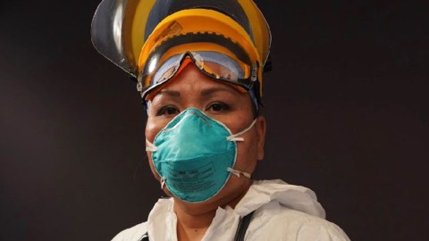 Dr. Michelle Tom, who has been treating coronavirus cases for up to six days er week. (Photo courtesy of Courtesy of Jade Begay of NDN Collective)