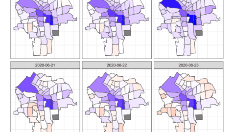 The map series demonstrates the percentage change in population of Facebook users within the census tracts of Syracuse.