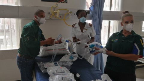 Staff members at Settlers Hospital in Eastern Cape, South Africa display medical equipment. (Photo courtesy of Gift of the Givers)