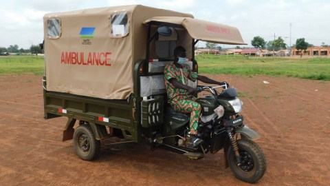 A community health worker with Integrate Health in Togo operates a moto ambulance, which transports pediatric patients and pregnant women to medical care. Direct Relief provided the group with a shipment of essential medications, including respiratory therapies and antibiotics, over the past week. (Courtesy photo)