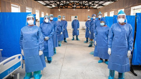 St. Boniface Hospital staff members in full PPE. (Photo by Nadia Todres for St. Boniface Hospital)