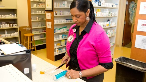 A pharmacist at Roanoke Chowan Health Center prepares a prescription. The health center, located in Ahoskie, North Carolina, received medical support from Direct Relief this week, including N95 masks and personal care products. (Courtesy photo)