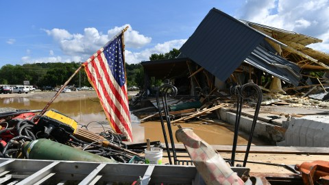 Damage was extensive from heavy rains and devastating floods in Waverly, Tennessee, as seen on Aug. 22, 2021. (Photo by Peter Zay/Anadolu Agency via Getty Images)