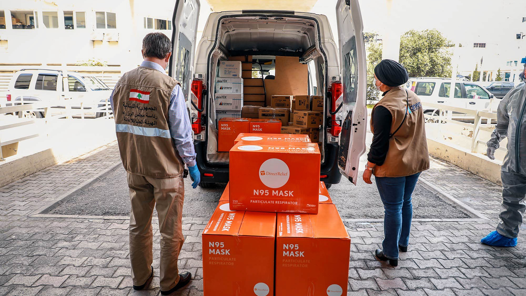 Protective gear from Direct Relief arrives at Rafik Hariri University Hospital in Lebanon in April 2020. The nonprofit, Anera Lebanon, received medical support from Direct Relief this week. (Anera photo)
