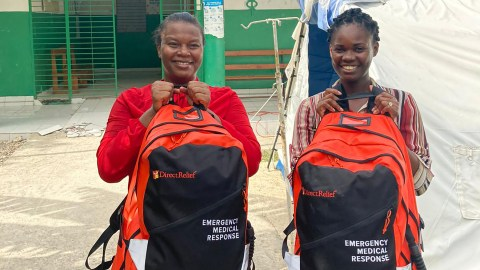 Health providers at the main clinic in Petit Trou de Nippes, Haiti, are providing care in the community, which is near the epicenter of the 7.2-magnitude earthquake that shook the country last month. Staff at the clinic, operated by Locally Haiti, are using the Emergency Medical Backpacks from Direct Relief to provide triage care. (Courtesy photo)