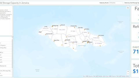 A map showing the placement of Direct Relief-provided medical grade refrigerators across Jamaica. (Direct Relief image)