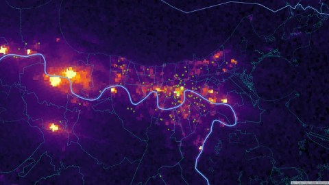 Luminosity in and near New Orleans on September 2, 2021 with all FQHC sites as circle points. (NASA Image/ Direct Relief analysis)