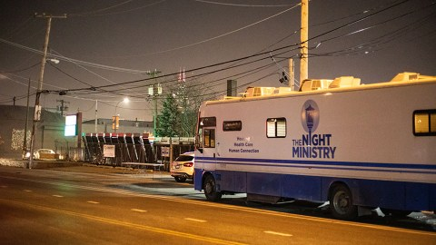 The Night Ministry's Health Outreach Bus in Pilsen, a Chicago neighborhood where the Night Ministry serves many clients for whom Spanish is the primary language. (Night Ministry photo)