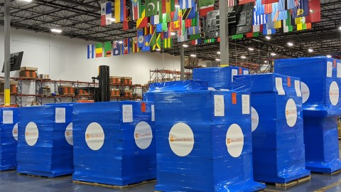 Medical aid is staged for Ukraine in Direct Relief's warehouse in 2020. (Tony Morain/Direct Relief)