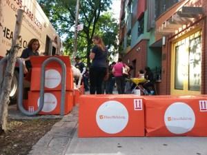 Boxes outside mobile unit paint