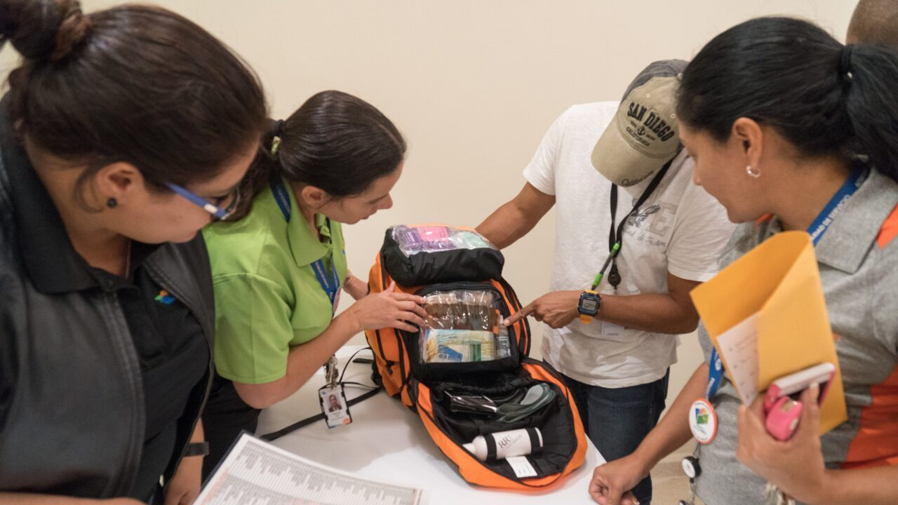 OCTOBER 6, 2017--RINCON, PUERTO RICO --- Costa Salud Hospital staff inspect Emergency fMedical Packs delivered by Direct Relief personnel following the path of Hurricane Maria through Puerto Rico. (Photo by Angel Valentin/Freelance)