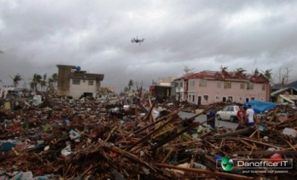 Danoffice IT flying drone to support Rescue teams in Philippines 2