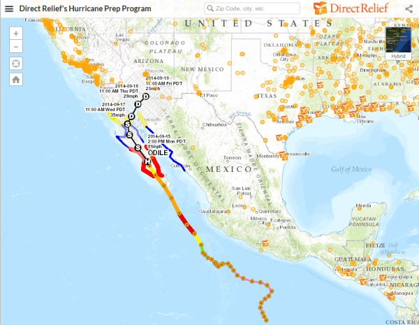 Hurricane Odile 9 15 14 map screenshot
