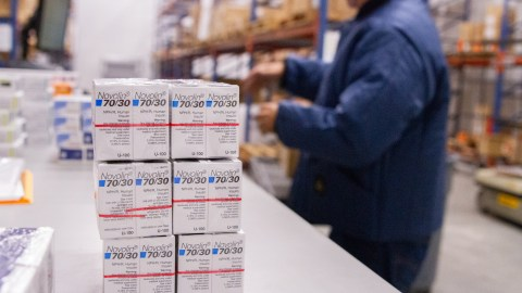 Insulin is packed at Direct Relief's headquarters before being shipped to health centers impacted by Hurricane Florence. Health Reach Center in Mooresville and NC MedAssist, in Charlotte, both of which provide prescriptions free-of-charge to thousands of North Carolina residents each year, will receive insulin as part of the shipment that left the warehouse on Sept. 19, 2018. The insulin was donated by Novo Nordisk. (Lara Cooper/Direct Relief)