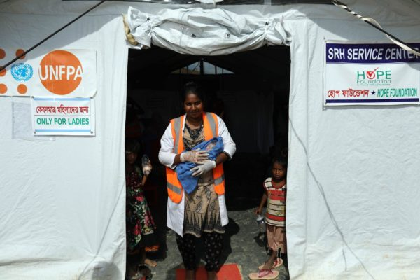 Direct Relief is coordinating with HOPE Hospital in Cox's Bazar, Bangladesh, to establish field hospitals throughout settlements of Rohingya refugees. (Photo by Josh Estey for Hope for Bangladesh/Every Mother Counts)