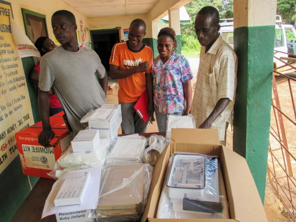 Staff at the Zie Town clinic were happy to receive much-needed supplies
