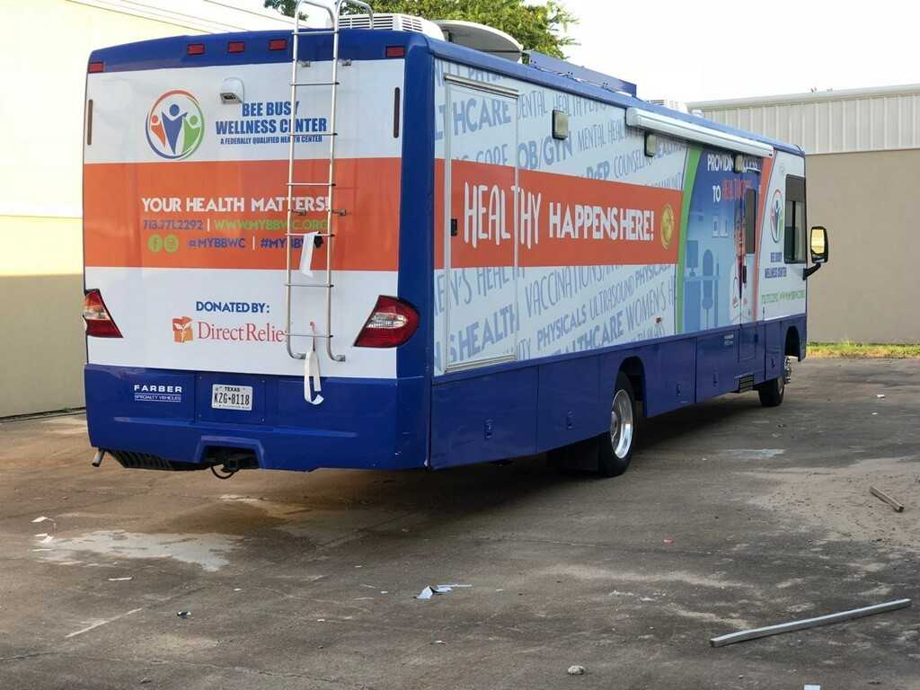 A mobile clinic for Bee Busy Wellness was purchased with funds from Direct Relief. After the hurricane, a shortage of mobile clinics locally meant two had to be brought from as far as California to be used in the Houston area for medical treatment.(Photo courtesy of Busy Bee Wellness)