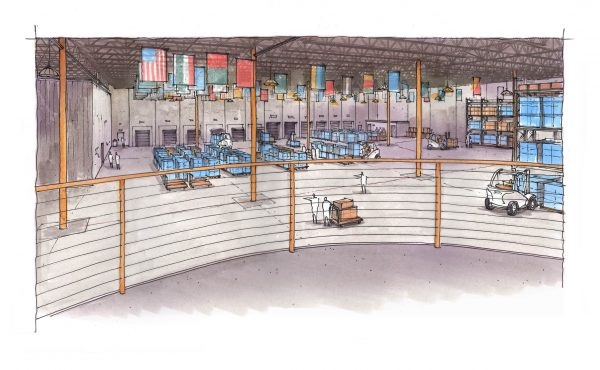 Direct Relief's new warehouse will expand humanitarian shipments of medical equipment around the world. Here, a rendering shows where inventory will be kept before shipment.