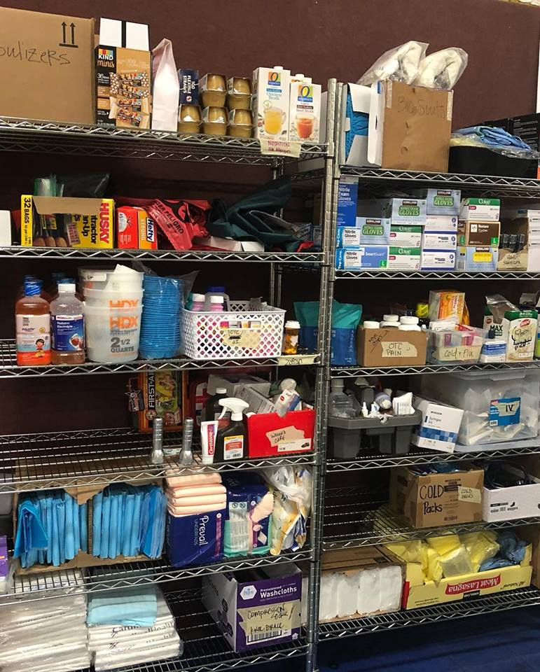 Medicines, including those donated by Direct Relief, are stocked at the pop-up clinic for patient care. (Photo courtesy of Birgitte Gundersen)