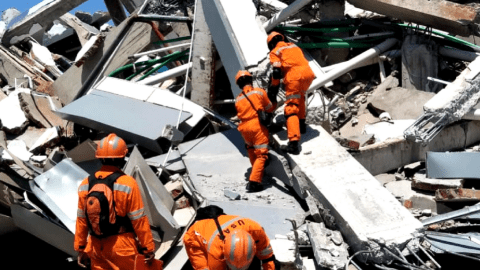 Urban search and rescue teams look for survivors in Indonesia after last week's devastating earthquake killed at least 1,300 people. Direct Relief is supporting groups on the ground, like the ASEAN Coordinating Centre for Humanitarian Assistance, or AHA Centre, and Muhammadiyah Disaster Management Center. (Photo courtesy of the AHA Centre)
