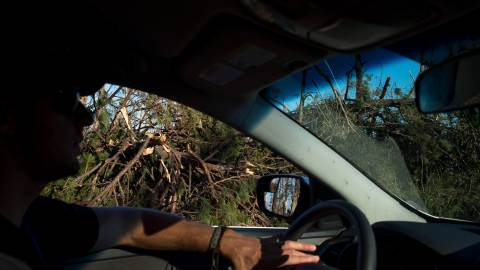 Damage from Hurricane Michael is seen in Panama City as Direct Relief brings medical supplies and funding to the aftermath of Hurricane Michael in the Florida panhandle on Saturday, October 13, 2018.