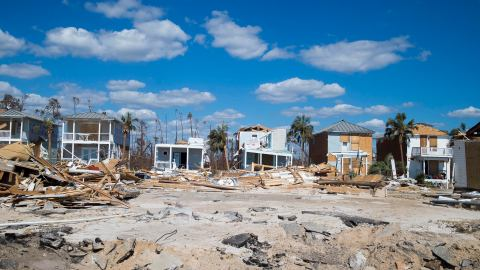 Mexico Beach, Florida was demolished by Hurricane Michael's impact in the Florida panhandle on Sunday, October 14, 2018.