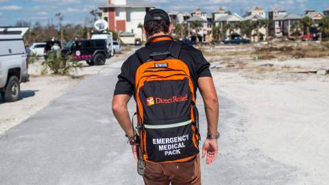Direct Relief emergency response staff brings medical supplies to Mexico Beach after Hurricane Michael devastated the Florida Panhandle. Photo by Zack Wittman for Direct Relief. October 14, 2018.