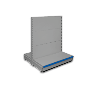 Double sided gondola - retail shop shelving system - Silver & Blue