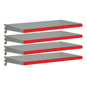 Pack of 4 complete heavy duty shelves for Evolve S50i - Silver & Red