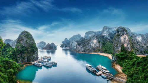Tourist Junks At Ha Long Bay, Vietnam