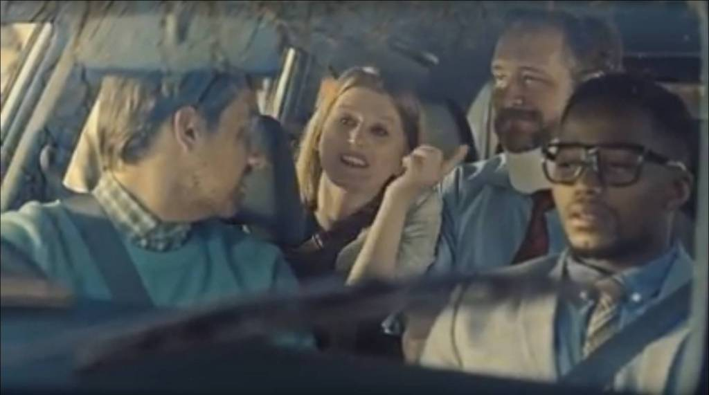 In this Honda commercial the hero shares his ride with co-workers who come up with outlandish excuses why they can't drive themselves to work