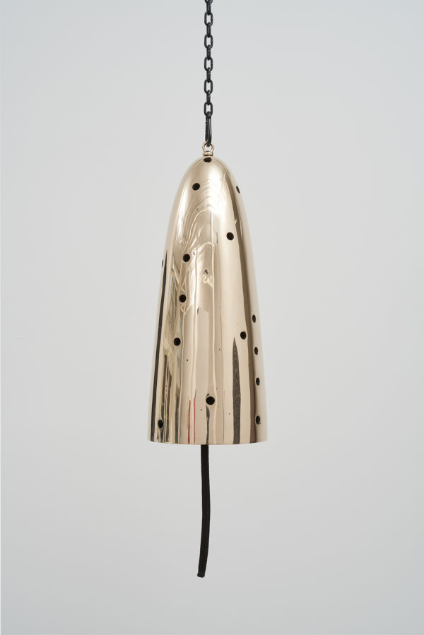 Messenger 2019 polished and patinated cast bronze bell, whipped nylon line, wooden clapper, powder-coated chain, hardware bell: 32 inches tall x 13 inches diameter, overall dimensions variable Photo: John Wilson White Image courtesy of Jessica Silverman Gallery, San Francisco, and the artist.