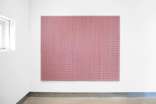Blush, 2020 powder coated galvanized steel chain, powder coated stainless steel nails; 70 x 87 inches