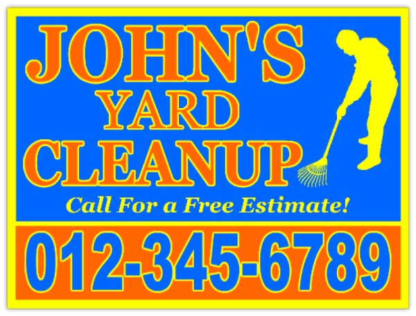 yard cleaning advertising sign